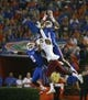 Sep 5, 2015; Gainesville, FL, USA; Florida Gators defensive back Vernon Hargreaves III (1) intercepts the ball over New Mexico State Aggies wide receiver Tyrain Taylor (5) during the second half at Ben Hill Griffin Stadium. Mandatory Credit: Kim Klement-USA TODAY Sports