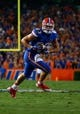 Sep 5, 2015; Gainesville, FL, USA Florida Gators tight end Jake McGee (83) runs with the ball during the first quarter at Ben Hill Griffin Stadium. Mandatory Credit: Kim Klement-USA TODAY Sports