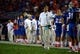 Sep 5, 2015; Gainesville, FL, USA; Florida Gators head coach Jim McElwain points against the New Mexico State Aggies during the second quarter at Ben Hill Griffin Stadium. Mandatory Credit: Kim Klement-USA TODAY Sports