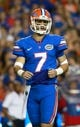 Sep 5, 2015; Gainesville, FL, USA; Florida Gators quarterback Will Grier (7) against the New Mexico State Aggies  during the second quarter at Ben Hill Griffin Stadium. Mandatory Credit: Kim Klement-USA TODAY Sports