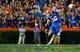 Sep 5, 2015; Gainesville, FL, USA; Florida Gators kicker Austin Hardin (16) kicks the ball during the second quarter at Ben Hill Griffin Stadium. Mandatory Credit: Kim Klement-USA TODAY Sports