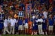Sep 5, 2015; Gainesville, FL, USA; Florida Gators hold up a money down sign on the sidelines on third down against the New Mexico State Aggies during the second half at Ben Hill Griffin Stadium. Mandatory Credit: Kim Klement-USA TODAY Sports