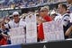 Sep 20, 2015; Orchard Park, NY, USA; New England Patriots fans show support for the team during the second against the Buffalo Bills half at Ralph Wilson Stadium. Patriots beat the Bills 40-32. Mandatory Credit: Kevin Hoffman-USA TODAY Sports