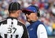 Sep 20, 2015; Orchard Park, NY, USA; Buffalo Bills head coach Rex Ryan talks to head linesman Jim Howey (37) during a time out against the New England Patriots at Ralph Wilson Stadium. Patriots defeat the Bills 40 to 32.  Mandatory Credit: Timothy T. Ludwig-USA TODAY Sports