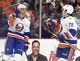 Sep 21, 2015; Philadelphia, PA, USA; New York Islanders center James Wright (26) celebrates his goal against the Philadelphia Flyers during the first period at PPL Center. Mandatory Credit: Eric Hartline-USA TODAY Sports
