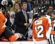 Sep 21, 2015; Philadelphia, PA, USA; Philadelphia Flyers head coach Dave Hakstol on the bench during third period New York Islanders during the third period at PPL Center. The Flyers defeated the Islanders, 5-3. Mandatory Credit: Eric Hartline-USA TODAY Sports