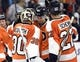 Sep 21, 2015; Philadelphia, PA, USA; Philadelphia Flyers goalie Michal Neuvirth (30), center Vincent Lecavalier (40) and defenseman Luke Schenn (22) celebrate win against the New York Islanders during the third period at PPL Center. The Flyers defeated the Islanders, 5-3. Mandatory Credit: Eric Hartline-USA TODAY Sports