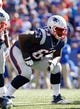 Sep 20, 2015; Orchard Park, NY, USA; New England Patriots offensive guard Tre Jackson (63) during the second half against the Buffalo Bills at Ralph Wilson Stadium. Patriots beat the Bills 40-32. Mandatory Credit: Kevin Hoffman-USA TODAY Sports