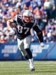 Sep 20, 2015; Orchard Park, NY, USA; New England Patriots tight end Rob Gronkowski (87) during the second half against the Buffalo Bills at Ralph Wilson Stadium. Patriots beat the Bills 40-32. Mandatory Credit: Kevin Hoffman-USA TODAY Sports