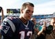 Sep 20, 2015; Orchard Park, NY, USA; New England Patriots quarterback Tom Brady (12) leaves the field after beating the Buffalo Bills at Ralph Wilson Stadium. Mandatory Credit: Kevin Hoffman-USA TODAY Sports