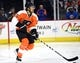 Sep 21, 2015; Philadelphia, PA, USA; Philadelphia Flyers defenseman Michael Del Zotto (15) during a preseason game against the New York Islanders at PPL Center. The Flyers defeated the Islanders, 5-3. Mandatory Credit: Eric Hartline-USA TODAY Sports