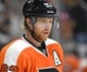 Sep 21, 2015; Philadelphia, PA, USA; Philadelphia Flyers right wing Jakub Voracek (93) during a preseason game against the New York Islanders at PPL Center. The Flyers defeated the Islanders, 5-3. Mandatory Credit: Eric Hartline-USA TODAY Sports