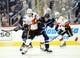 Oct 1, 2015; Winnipeg, Manitoba, CAN; Winnipeg Jets  forward  Andrew Copp (51) battles Calgary Flames right wing David Jones (19)  during the third period at MTS Centre. Winnipeg wins 3-1. Mandatory Credit: Bruce Fedyck-USA TODAY Sports