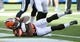 Oct 4, 2015; San Diego, CA, USA; Cleveland Browns wide receiver Taylor Gabriel (18) cradles the football as he falls into the end zone to score a two point conversion in the fourth quarter against the San Diego Chargers to tie the game 27-27 at Qualcomm Stadium. The Chargers would go on to score a field goal with no time on the clock to win the game 30-27. Mandatory Credit: Robert Hanashiro-USA TODAY Sports