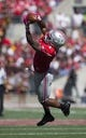 Oct 10, 2015; Columbus, OH, USA; Ohio State Buckeyes wide receiver Braxton Miller (1) makes a catch across the middle against the Maryland Terrapins at Ohio Stadium. Mandatory Credit: Greg Bartram-USA TODAY Sports
