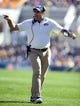 Oct 10, 2015; Pittsburgh, PA, USA; Pittsburgh Panthers head coach Pat Narduzzi reacts on the sidelines against the Virginia Cavaliers during the second quarter at Heinz Field. Mandatory Credit: Charles LeClaire-USA TODAY Sports