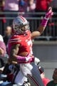 Oct 10, 2015; Columbus, OH, USA; Ohio State Buckeyes wide receiver Jalin Marshall (7) celebrates after scoring a touchdown against the Maryland Terrapins at Ohio Stadium. Mandatory Credit: Greg Bartram-USA TODAY Sports