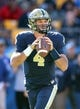 Oct 10, 2015; Pittsburgh, PA, USA; Pittsburgh Panthers quarterback Nathan Peterman (4) looks to pass the ball against the Virginia Cavaliers during the fourth quarter at Heinz Field. PITT won 26-19. Mandatory Credit: Charles LeClaire-USA TODAY Sports