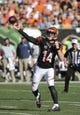 Oct 11, 2015; Cincinnati, OH, USA; Cincinnati Bengals quarterback Andy Dalton (14) throws a pass in the second half against the Seattle Seahawks at Paul Brown Stadium. The Bengals won 27-24. Mandatory Credit: Aaron Doster-USA TODAY Sports