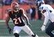 Oct 11, 2015; Cincinnati, OH, USA; Cincinnati Bengals cornerback Darqueze Dennard (21) against the Seattle Seahawks at Paul Brown Stadium. The Bengals won 27-24. Mandatory Credit: Aaron Doster-USA TODAY Sports