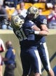 Oct 10, 2015; Pittsburgh, PA, USA; Pittsburgh Panthers tight end Jaymar Parrish (31) and tight end Scott Orndoff (83) celebrate a touchdown by Orndoff against the Virginia Cavaliers during the first quarter at Heinz Field. PITT won 26-19. Mandatory Credit: Charles LeClaire-USA TODAY Sports