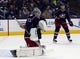 Oct 31, 2015; Columbus, OH, USA; Columbus Blue Jackets goalie Sergei Bobrovsky (72) makes a save against the Winnipeg Jets during the first period at Nationwide Arena. Mandatory Credit: Russell LaBounty-USA TODAY Sports