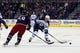 Oct 31, 2015; Columbus, OH, USA; Winnipeg Jets center Andrew Copp (9) skates with the puck as Columbus Blue Jackets defenseman David Savard (58) defends during the first period at Nationwide Arena. Mandatory Credit: Russell LaBounty-USA TODAY Sports