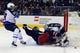 Oct 31, 2015; Columbus, OH, USA; Winnipeg Jets goalie Ondrej Pavelec (31) makes a save as Columbus Blue Jackets left wing Nick Foligno (71) crashes into him during the second period at Nationwide Arena. Mandatory Credit: Russell LaBounty-USA TODAY Sports