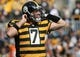 Nov 1, 2015; Pittsburgh, PA, USA; Pittsburgh Steelers quarterback Ben Roethlisberger (7) takes his helmet off after throwing an incomplete pass against the Cincinnati Bengals during the first half at Heinz Field. Mandatory Credit: Jason Bridge-USA TODAY Sports