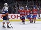 Nov 5, 2015; Montreal, Quebec, CAN; Montreal Canadiens forward David Desharnais (51) celebrates with teammates including Dale Weise (22) and Jeff Petry (26) after scoring a goal against the New York Islanders during the third period at the Bell Centre. Mandatory Credit: Eric Bolte-USA TODAY Sports