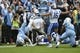 Nov 7, 2015; Chapel Hill, NC, USA; North Carolina Tar Heels wide receiver Ryan Switzer (3) is tackled by Duke Blue Devils cornerback Breon Borders (31) as safety Jeremy Cash (16) helps defend in the first quarter at Kenan Memorial Stadium. Mandatory Credit: Bob Donnan-USA TODAY Sports