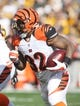 Nov 1, 2015; Pittsburgh, PA, USA; Cincinnati Bengals running back Jeremy Hill (32) runs the ball against the Pittsburgh Steelers during the first quarter at Heinz Field. The Bengals won 16-10. Mandatory Credit: Charles LeClaire-USA TODAY Sports