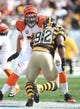 Nov 1, 2015; Pittsburgh, PA, USA; Cincinnati Bengals tackle Andrew Whitworth (77) blocks at the line of scrimmage against Pittsburgh Steelers outside linebacker James Harrison (92) during the first quarter at Heinz Field. The Bengals won 16-10. Mandatory Credit: Charles LeClaire-USA TODAY Sports