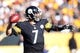 Nov 8, 2015; Pittsburgh, PA, USA; Pittsburgh Steelers quarterback Ben Roethlisberger (7) passes against the Oakland Raiders during the first quarter at Heinz Field. Mandatory Credit: Charles LeClaire-USA TODAY Sports