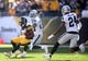 Nov 8, 2015; Pittsburgh, PA, USA; Pittsburgh Steelers wide receiver Antonio Brown (84) runs after a catch as Oakland Raiders cornerback D.J. Hayden (25) and free safety Charles Woodson (24) defend during the first quarter at Heinz Field. Mandatory Credit: Charles LeClaire-USA TODAY Sports