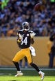 Nov 8, 2015; Pittsburgh, PA, USA; Pittsburgh Steelers wide receiver Antonio Brown (84) makes a catch against the Oakland Raiders during the first quarter at Heinz Field. Mandatory Credit: Charles LeClaire-USA TODAY Sports