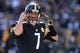 Nov 8, 2015; Pittsburgh, PA, USA; Pittsburgh Steelers quarterback Ben Roethlisberger (7) gestures at the line of scrimmage against the Oakland Raiders during the second quarter at Heinz Field. Mandatory Credit: Charles LeClaire-USA TODAY Sports