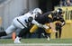 Nov 8, 2015; Pittsburgh, PA, USA; Pittsburgh Steelers quarterback Ben Roethlisberger (7) is injured as he is sacked by Oakland Raiders linebacker Aldon Smith (99) during the second half at Heinz Field. The Steelers won the game, 38-35. Mandatory Credit: Jason Bridge-USA TODAY Sports