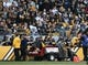 Nov 8, 2015; Pittsburgh, PA, USA; Pittsburgh Steelers quarterback Ben Roethlisberger (7) is carted off of the field against the Oakland Raiders during the second half at Heinz Field. The Steelers won the game, 38-35. Mandatory Credit: Jason Bridge-USA TODAY Sports