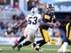 Nov 8, 2015; Pittsburgh, PA, USA; Pittsburgh Steelers quarterback Ben Roethlisberger (7) scrambles under pressure from Oakland Raiders outside linebacker Malcolm Smith (53) during the second quarter at Heinz Field. The Steelers won 38-35. Mandatory Credit: Charles LeClaire-USA TODAY Sports