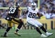 Nov 8, 2015; Pittsburgh, PA, USA; Oakland Raiders running back Latavius Murray (28) runs the ball against Pittsburgh Steelers safety Mike Mitchell (23) during the second half at Heinz Field. The Steelers won the game, 38-35. Mandatory Credit: Jason Bridge-USA TODAY Sports