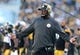 Nov 8, 2015; Pittsburgh, PA, USA; Pittsburgh Steelers head coach Mike Tomlin questions a call by officials against the Oakland Raiders during the first half at Heinz Field. Mandatory Credit: Jason Bridge-USA TODAY Sports