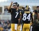 Nov 8, 2015; Pittsburgh, PA, USA; Pittsburgh Steelers quarterback Ben Roethlisberger (7) motions next to wide receiver Antonio Brown (84) against the Oakland Raiders during the first half at Heinz Field. Mandatory Credit: Jason Bridge-USA TODAY Sports