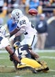 Nov 8, 2015; Pittsburgh, PA, USA; Pittsburgh Steelers fullback Roosevelt Nix (45) causes Oakland Raiders running back Taiwan Jones (22) to fumble on a kick-off return during the fourth quarter at Heinz Field. The Steelers won 38-35. Mandatory Credit: Charles LeClaire-USA TODAY Sports