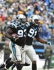 Nov 8, 2015; Charlotte, NC, USA; Carolina Panthers defensive tackle Kyle Love (93) with defensive end Ryan Delaire (91) after recovering a fumble in the second quarter at Bank of America Stadium. Mandatory Credit: Bob Donnan-USA TODAY Sports