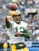 Nov 8, 2015; Charlotte, NC, USA; Green Bay Packers quarterback Aaron Rodgers (12) passes the ball in the first quarter at Bank of America Stadium. Mandatory Credit: Bob Donnan-USA TODAY Sports