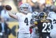 Nov 8, 2015; Pittsburgh, PA, USA; Oakland Raiders quarterback Derek Carr (4) passes the ball against the Pittsburgh Steelers during the third quarter at Heinz Field.  The Steelers won 38-35. Mandatory Credit: Charles LeClaire-USA TODAY Sports