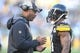 Nov 8, 2015; Pittsburgh, PA, USA; Pittsburgh Steelers defense backs coach Carnell Lake (L) talks with Pittsburgh Steelers cornerback Antwon Blake (41) against the Oakland Raiders during the third quarter at Heinz Field. The Steelers won 38-35.Mandatory Credit: Charles LeClaire-USA TODAY Sports