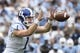 Nov 7, 2015; Chapel Hill, NC, USA; Duke Blue Devils quarterback Thomas Sirk (1) with the ball in the first quarter at Kenan Memorial Stadium. Mandatory Credit: Bob Donnan-USA TODAY Sports