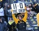 Nov 21, 2015; Iowa City, IA, USA; A Iowa Hawkeyes fan holds up a sign showing the Hawks record after beating the Purdue Boilermakers at Kinnick Stadium. Iowa beat Purdue 40-20. Mandatory Credit: Reese Strickland-USA TODAY Sports